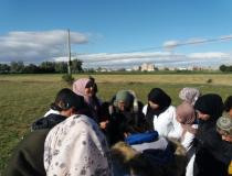 with my students in the field task;sustainable development agriculture